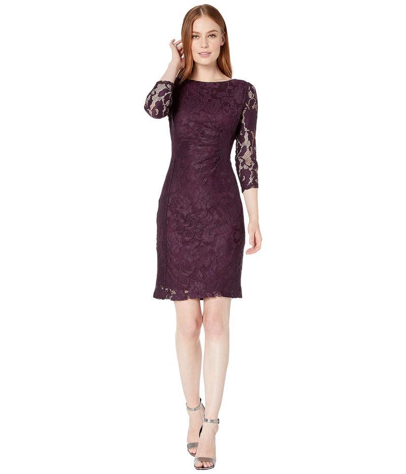 タハリ レディース ワンピース トップス Long Sleeve Stretch Lace Side Draped Dress Plum Floral Lac