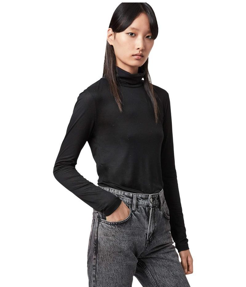 オールセインツ レディース シャツ トップス Esme Gem Long Sleeve Roll Neck Black