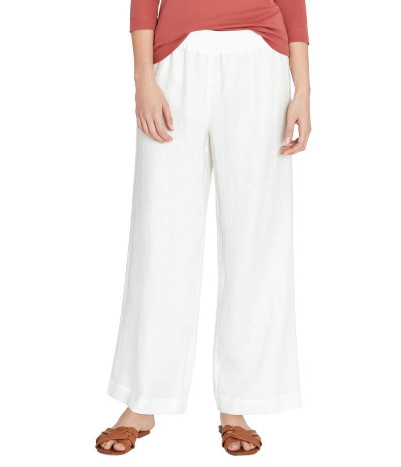 スリードッツ レディース カジュアルパンツ ボトムス Linen Wide Leg Pants White