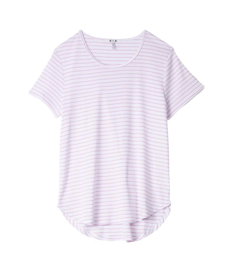 スリードッツ レディース シャツ トップス Cotton Modal Short Sleeve Stripe Tee White/Orchid