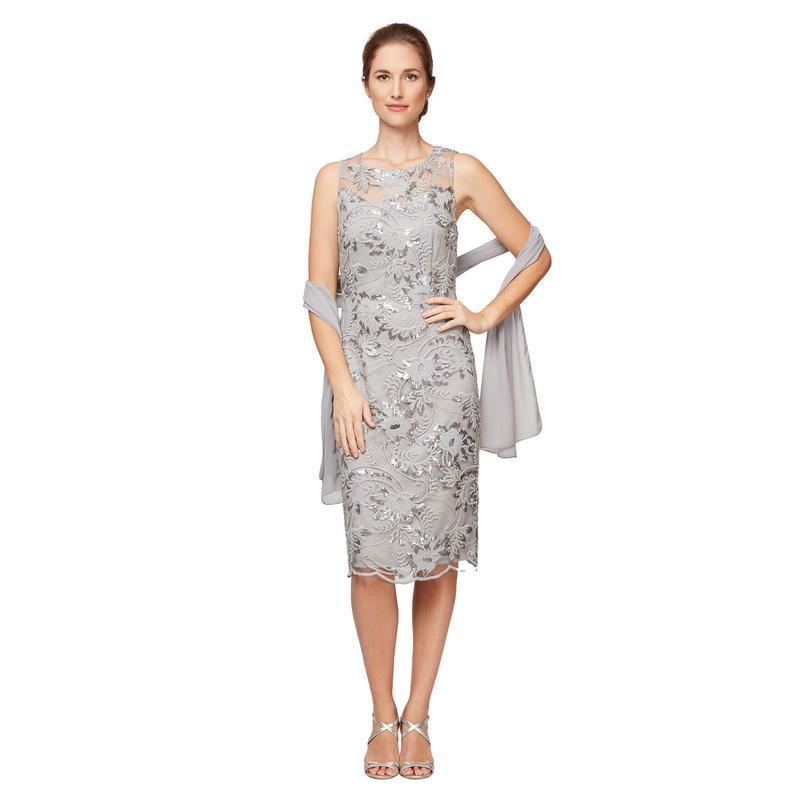 アレックスイブニングス レディース ワンピース トップス Petite Short Embroidered Shift Dress with Illusion Neckline and Shawl Dove