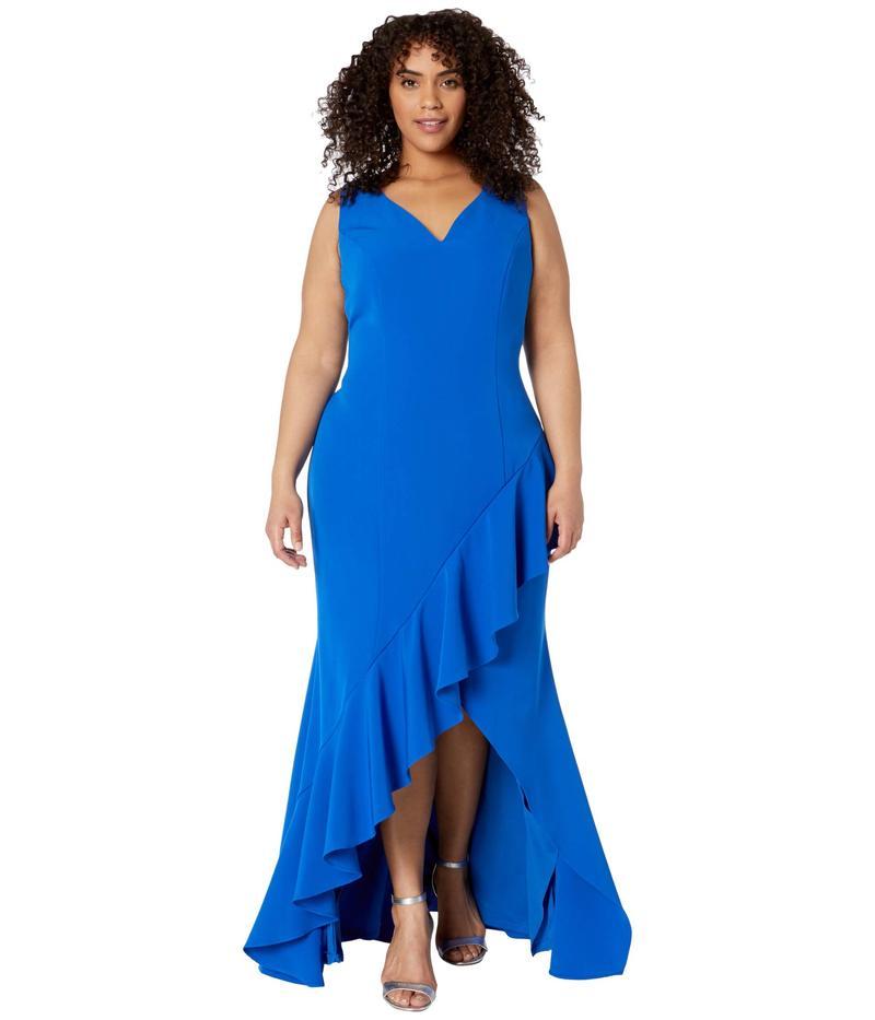 アドリアナ パペル レディース ワンピース トップス Plus Size Asymmetrical Ruffle Gown Blue Sapphire