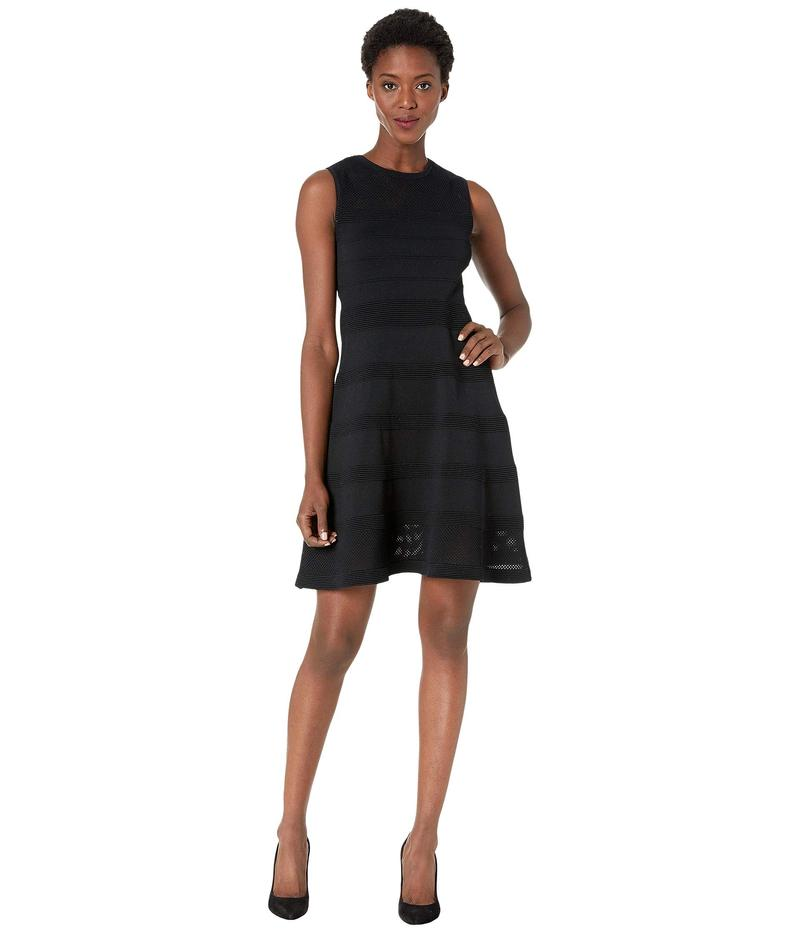 ヴィンスカムート レディース ワンピース トップス Sleeveless Mesh Fit-and-Flare Dress Black