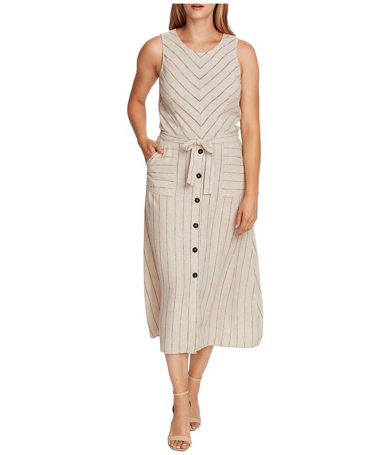 ヴィンスカムート レディース ワンピース トップス Sleeveless Natural Stripe Two-Pocket Tie Waist Dress Light Stone