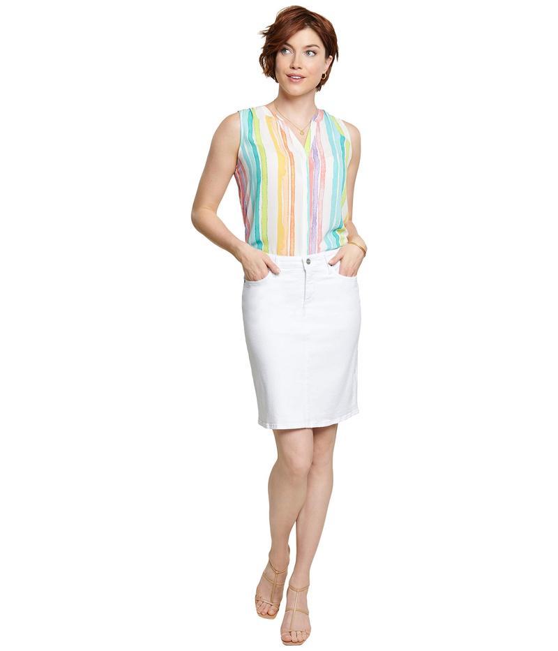 エヌワイディージェイ レディース スカート ボトムス Denim Skirt in Optic White Optic White