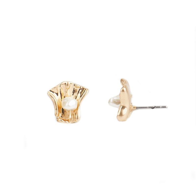 レベッカミンコフ レディース ピアス・イヤリング アクセサリー Organic Metal and Pearl Studs Earrings Gold