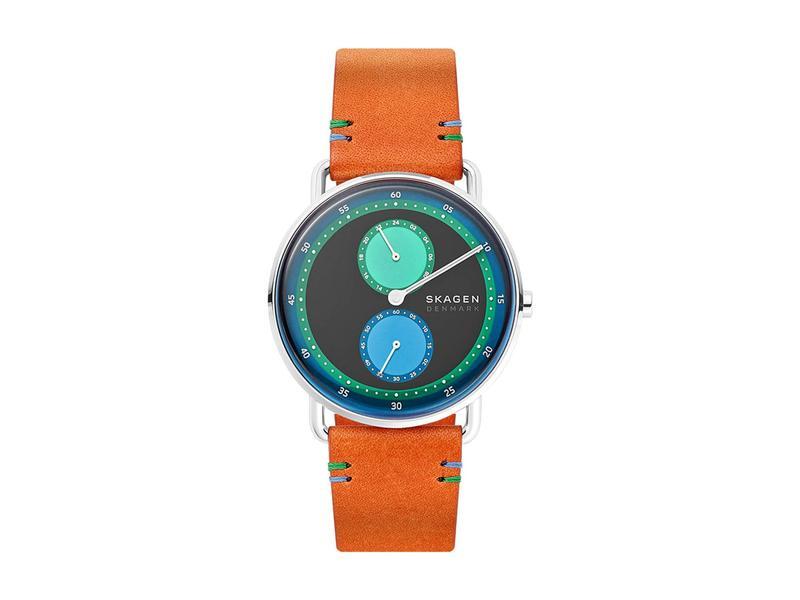 スカーゲン メンズ 腕時計 アクセサリー Limited Edition Horizont Dual Timezone Leather Watch Brown