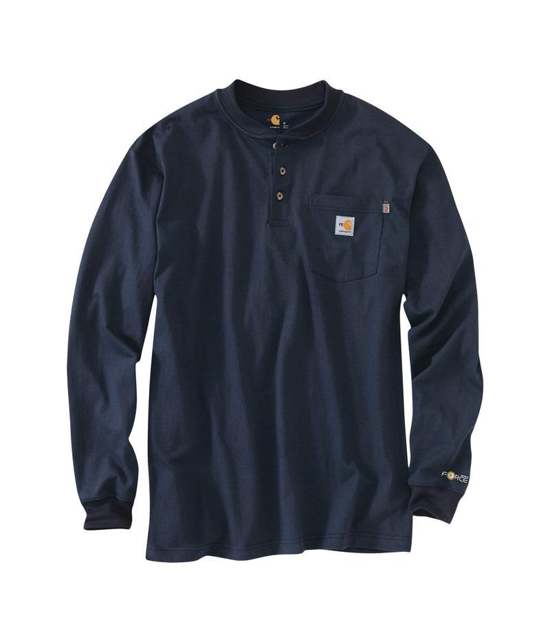 カーハート メンズ シャツ トップス Flame-Resistant Force Cotton Long Sleeve Henley Dark Navy