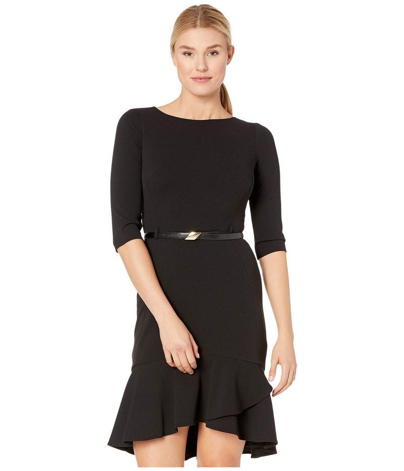 カルバンクライン レディース ワンピース トップス 3/4 Sleeve Belted Dress with Ruffle Hem Black