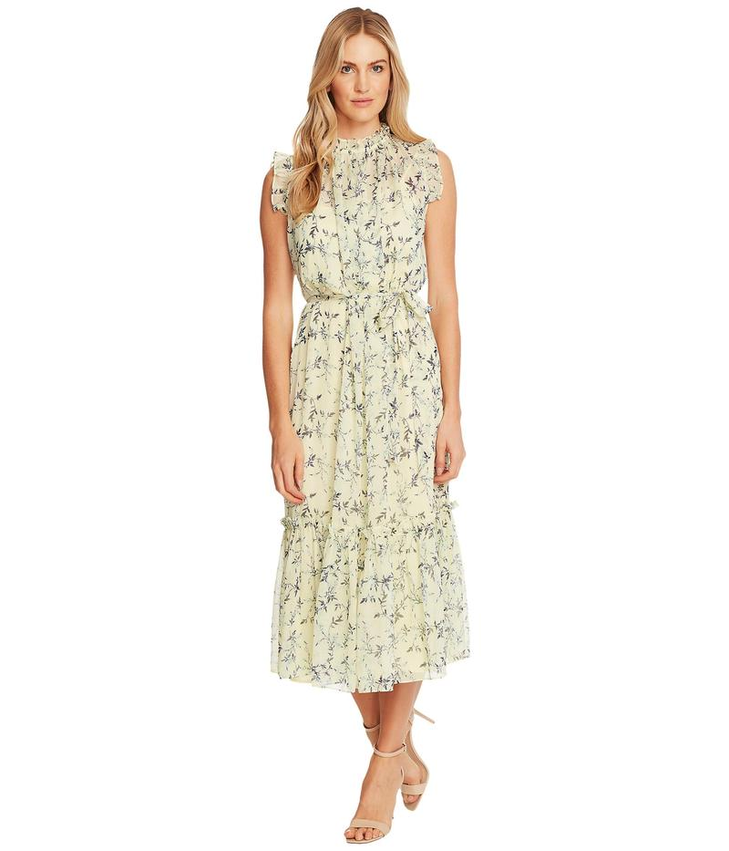 セセ レディース ワンピース トップス Sleeveless Wisteria Vines Ruffled Midi Dress Lemonade