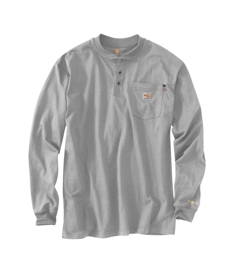 カーハート メンズ シャツ トップス Flame-Resistant Force Cotton Long Sleeve Henley Light Gray