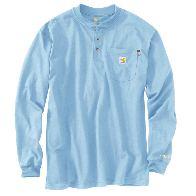 カーハート メンズ シャツ トップス Big & Tall Flame-Resistant Force Cotton Long Sleeve Henley Medium Blue