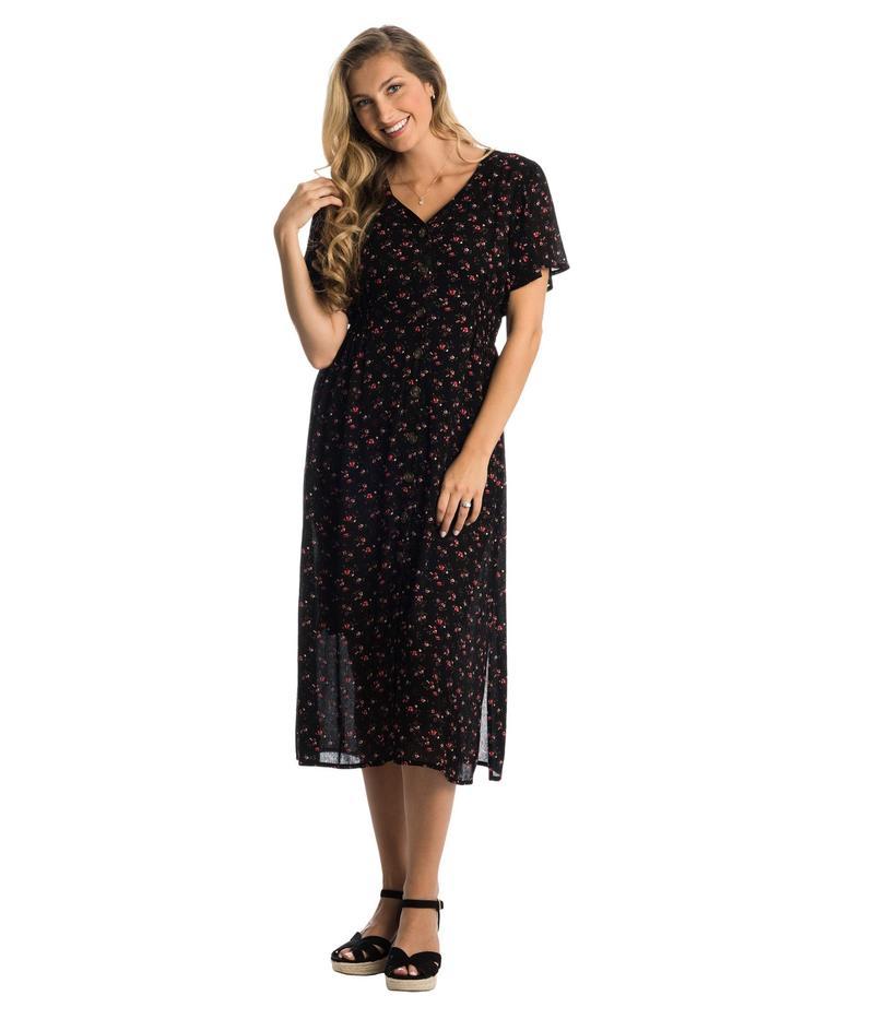 エヴァリーグレー レディース ワンピース トップス Ballencia Maternity/Nursing Dress Black Floral