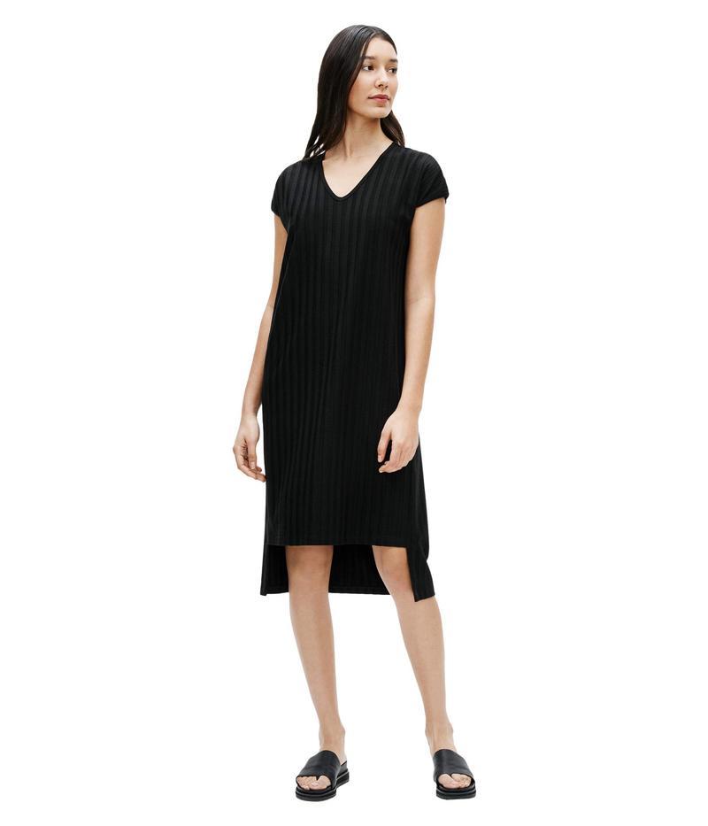 エイリーンフィッシャー レディース ワンピース トップス V-Neck High-Low Dress Black