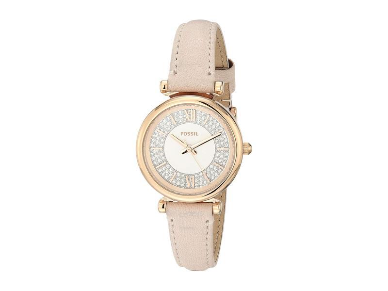 フォッシル レディース 腕時計 アクセサリー Carlie Mini Three-Hand Leather Watch ES4839 Rose Gol