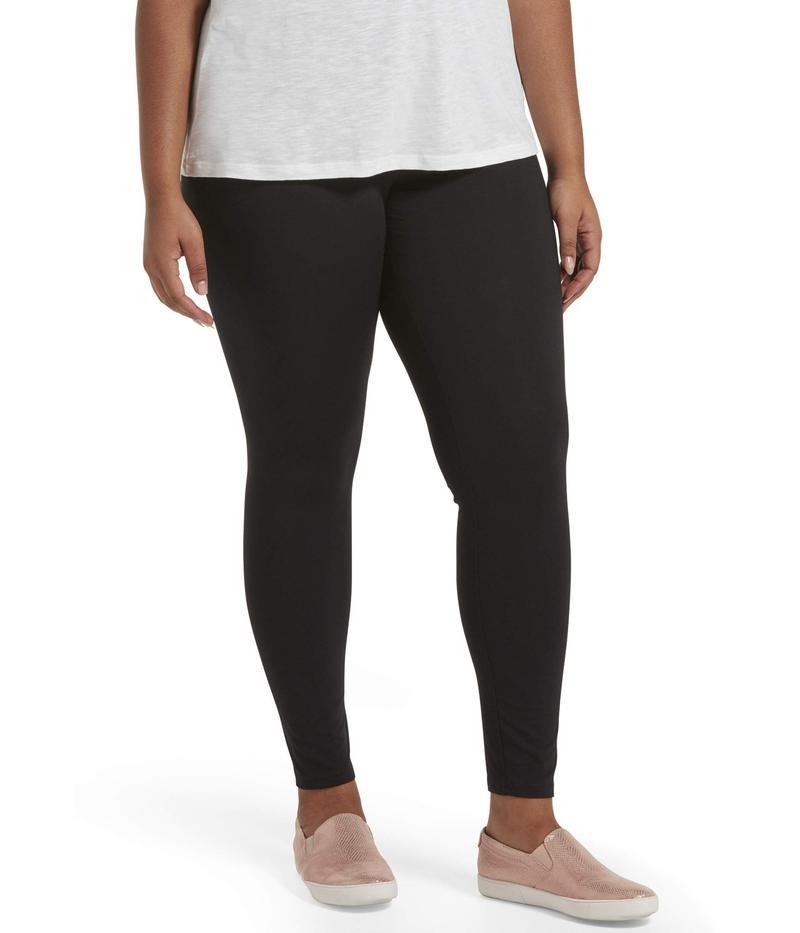 ヒュー レディース カジュアルパンツ ボトムス Plus Size Travel Wide Waistband Cotton High-Waist Leggings Black