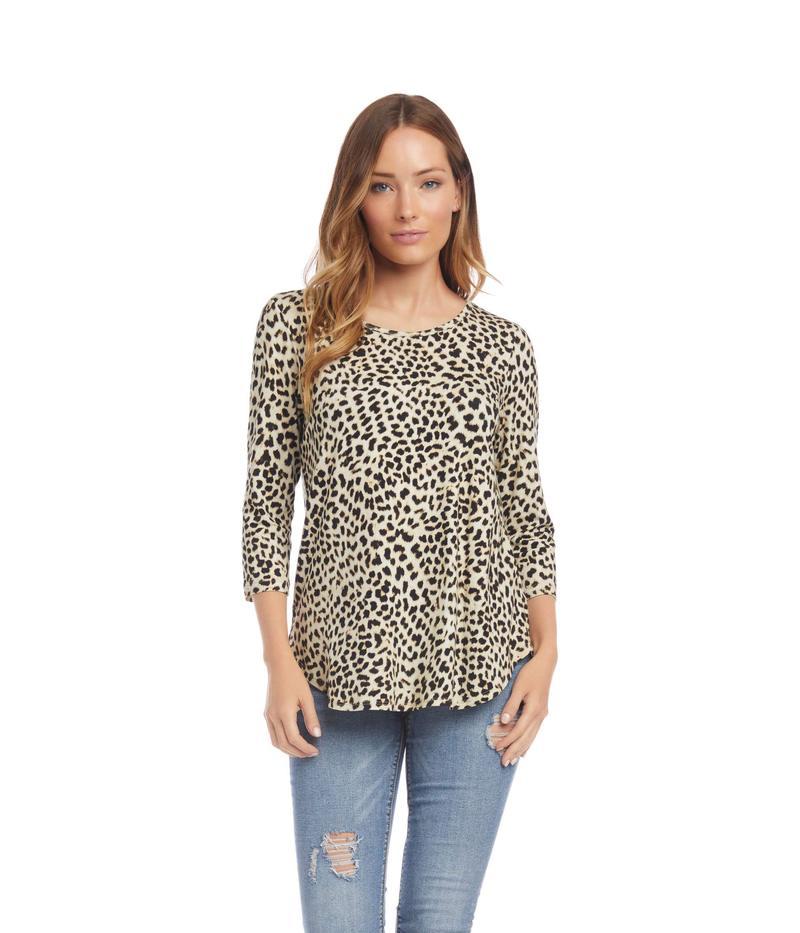 カレンケーン レディース シャツ トップス 3/4 Sleeve Shirttail Top Cheetah