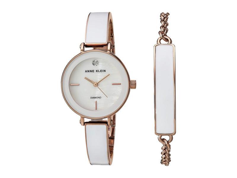 アンクライン レディース 腕時計 アクセサリー Watch and Bracelet Set White/Rose Gold
