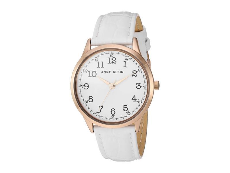 アンクライン レディース 腕時計 アクセサリー Leather Strap Watch White/Rose Gold