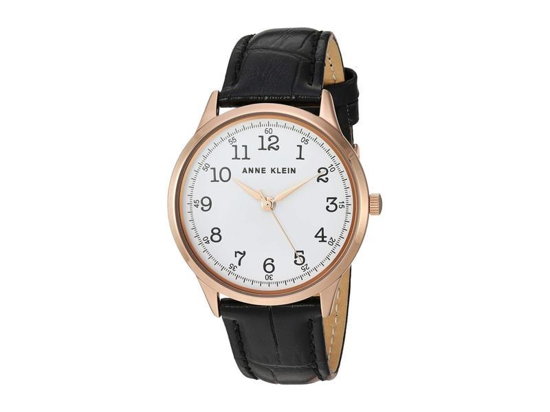 アンクライン レディース 腕時計 アクセサリー Leather Strap Watch Black/Rose Gold