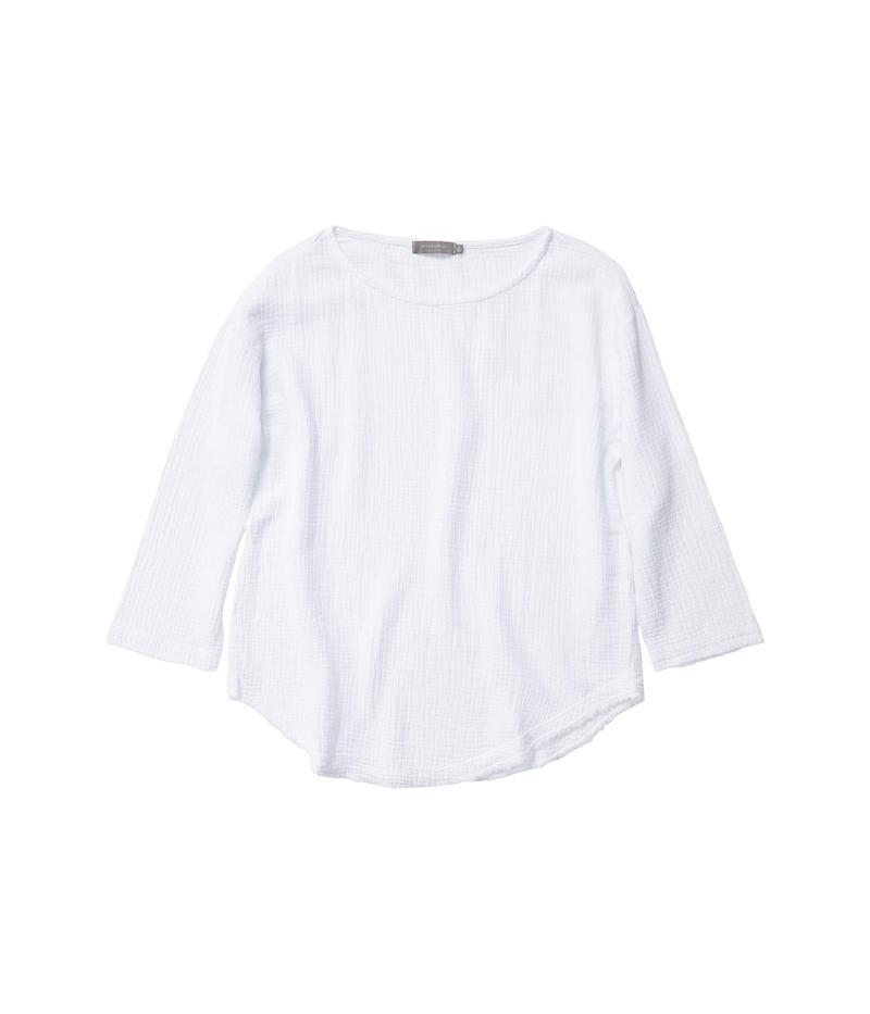 モッドドック レディース シャツ トップス Double Layer Gauze 3/4 Sleeve Seamed Front Tunic White