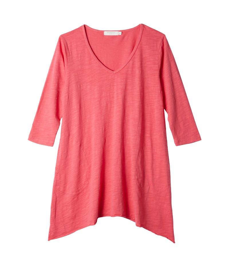 モッドドック レディース シャツ トップス Slub Jersey 3/4 Sleeve V-Neck Tunic with Pockets Azalea