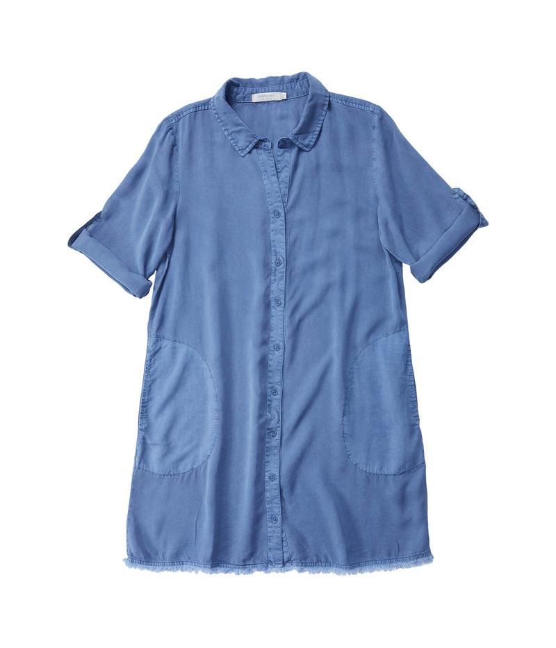 モッドドック レディース ワンピース トップス Tencel Twill A-Line Button Front Dress with Frayed Hem Indigo Ink
