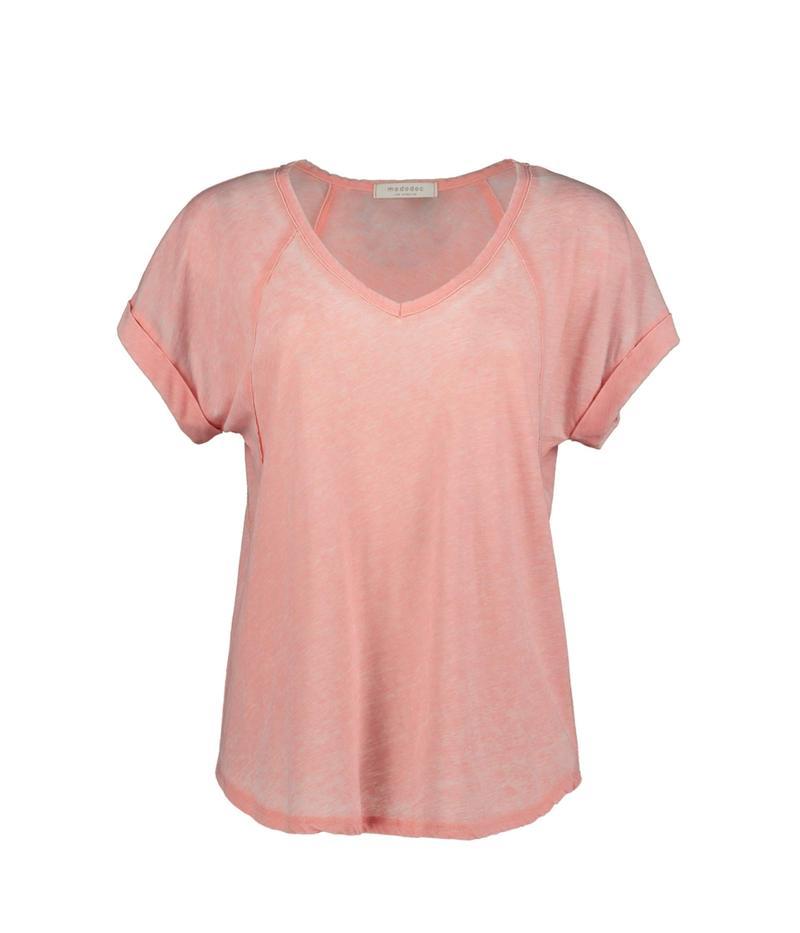 モッドドック レディース シャツ トップス Burnout Wash Jersey V-Neck Seamed Short Sleeve Tee Peach Blossom