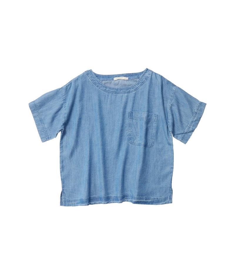 モッドドック レディース シャツ トップス Crosshatch Tencel Denim Short Sleeve Patch Pocket Boxy Top Blue