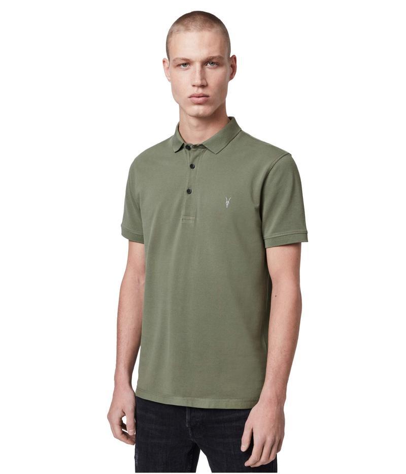 オールセインツ メンズ シャツ トップス Reform Short Sleeve Polo Olive Green