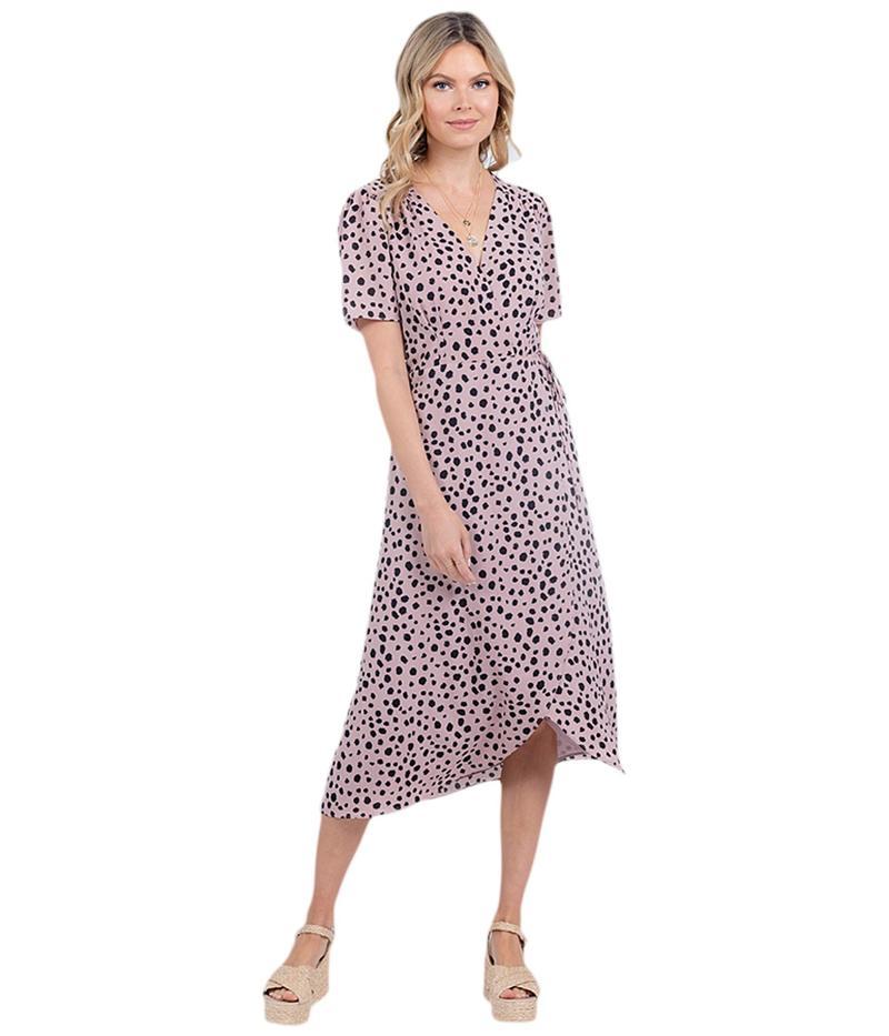 アメリカンローズ レディース ワンピース トップス Isla Polka Dot Wrap Dress Mauve