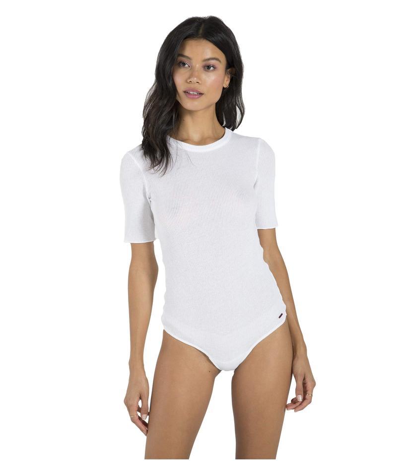 フィランソロピー レディース シャツ トップス Suri Ribbed Elbow Sleeve Bodysuit White