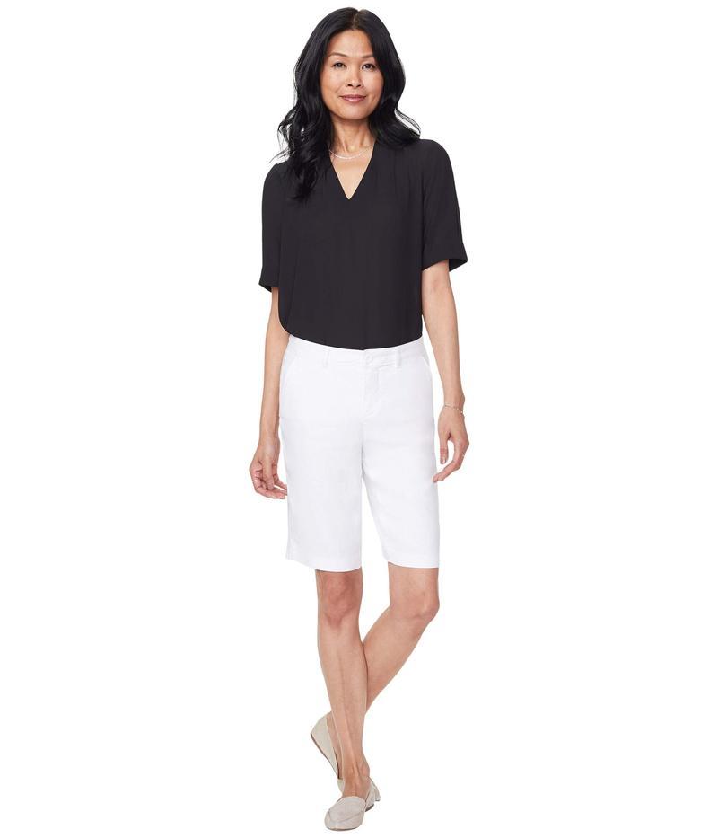 エヌワイディージェイ レディース ハーフパンツ・ショーツ ボトムス Bermuda Linen Shorts Optic White