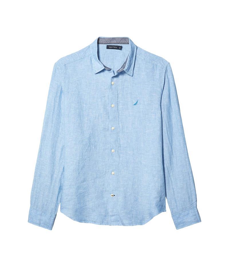 ナウティカ メンズ シャツ トップス Long Sleeve Faded Linen Shirt Blue