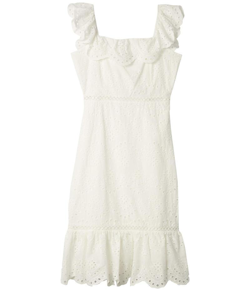 サムエデルマン レディース ワンピース トップス Eyelet Ruffle Neck Dress White