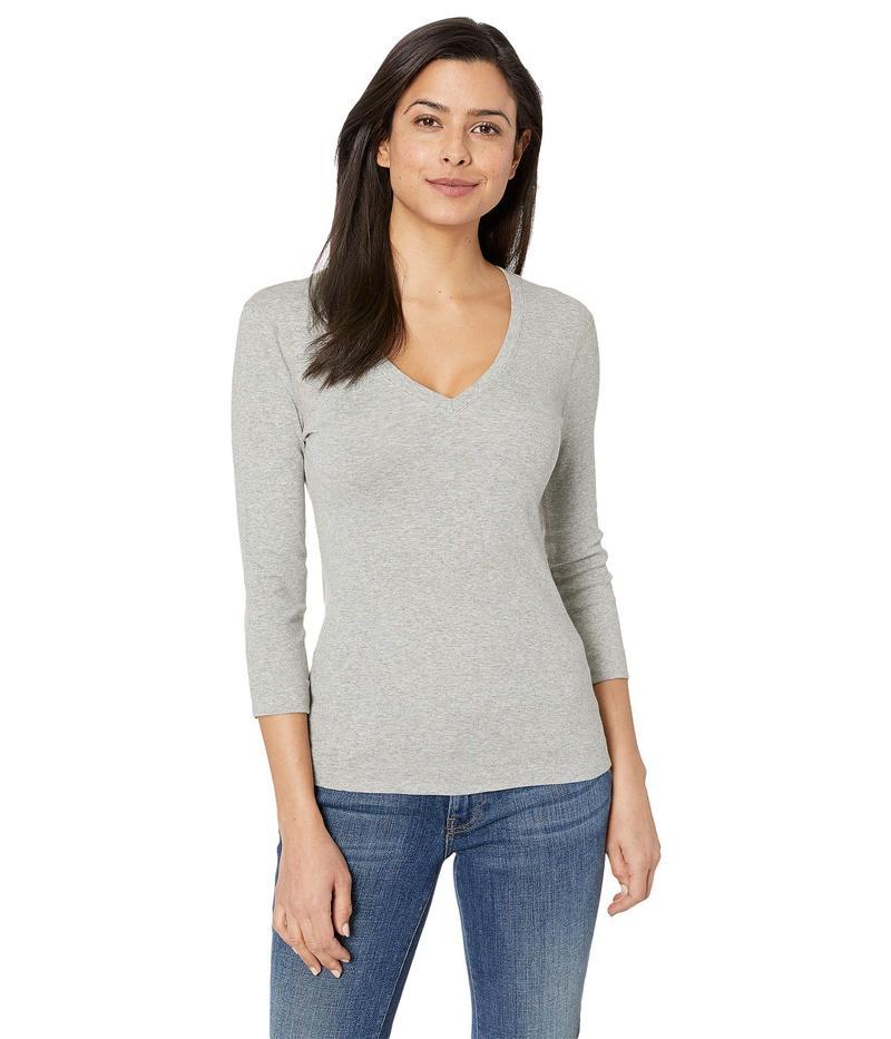 スリードッツ レディース シャツ トップス 100% Cotton Heritage Knit 3/4 Sleeve Deep V-Neck Granite