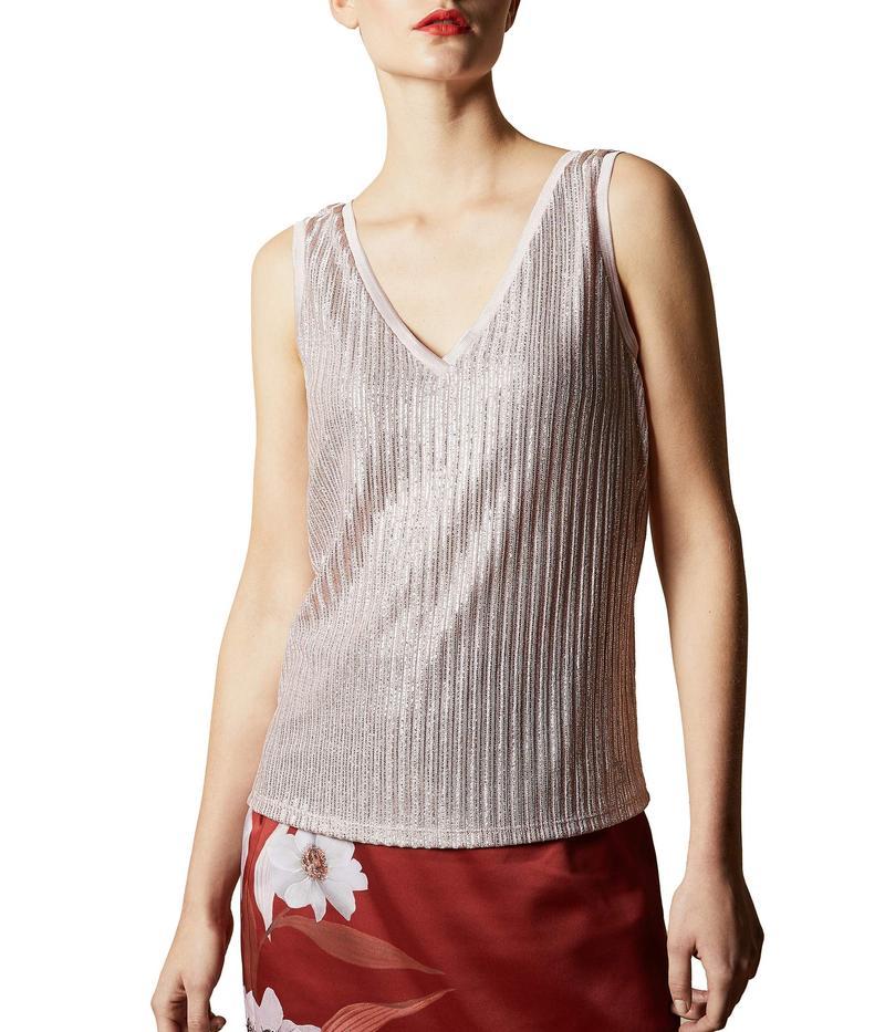 テッドベーカー レディース シャツ トップス Robinee Lurex Vest Baby Pink