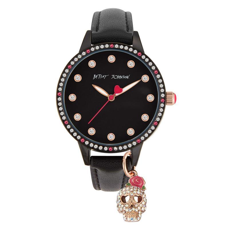 ベッツィジョンソン レディース 腕時計 アクセサリー Charming Skull Watch Black