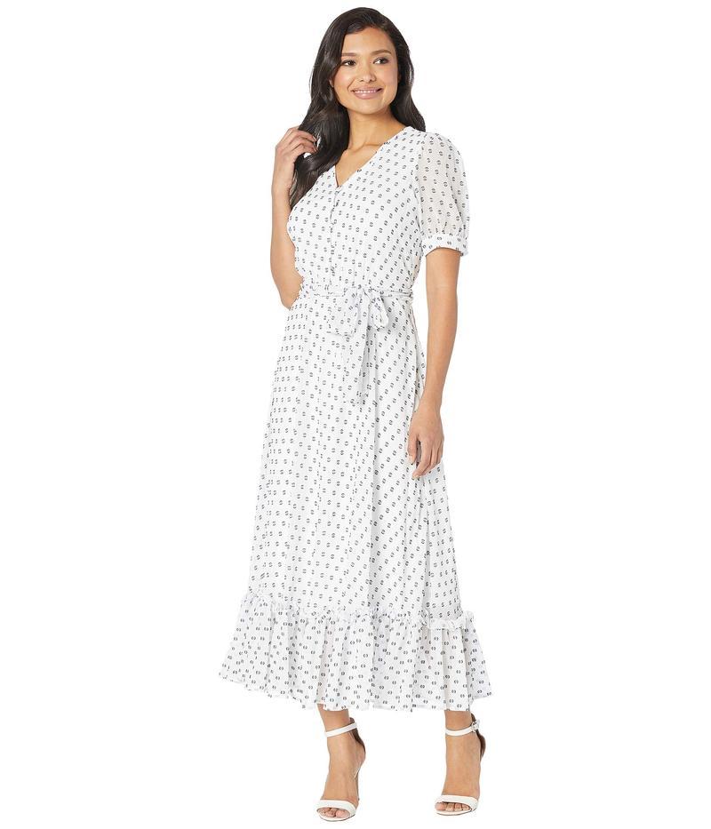 カルバンクライン レディース ワンピース トップス Printed Chiffon Maxi Dress White/Black