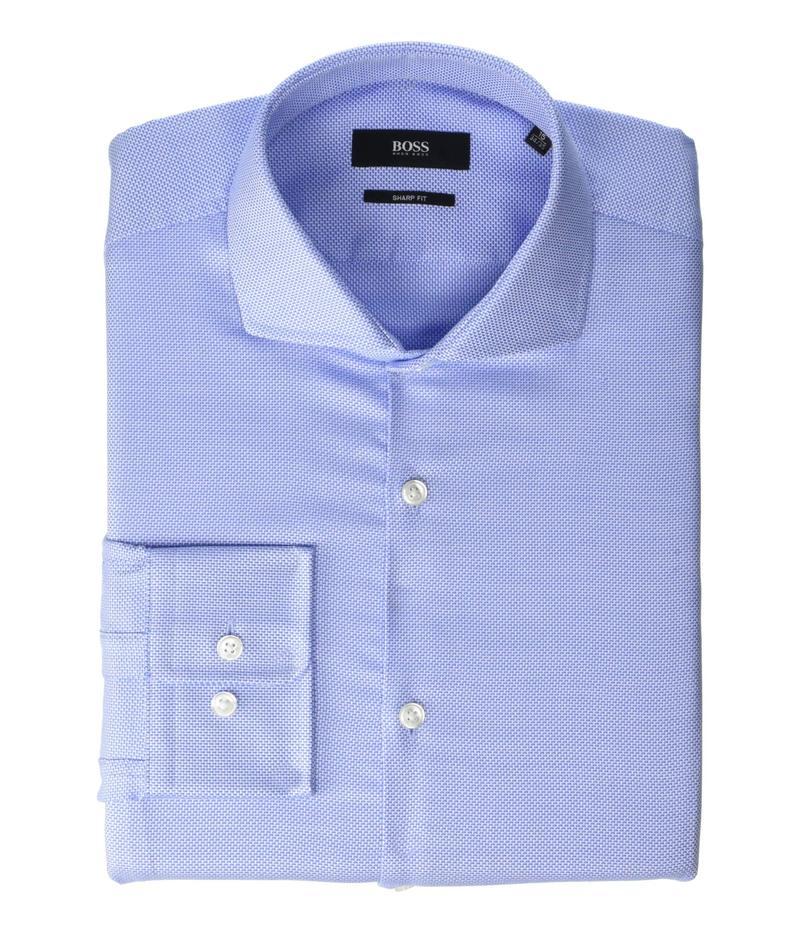 ヒューゴボス メンズ シャツ トップス Mark Slim Fit Cotton Dress Shirt By BOSS Light Blue