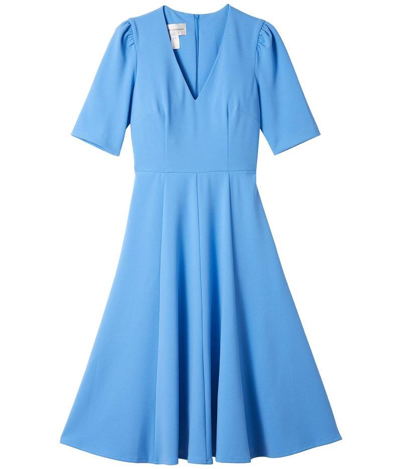 ドナモーガン レディース ワンピース トップス V-Neck Fit and Flare Crepe Dress Blue Bonnet