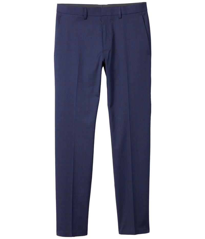 ケネスコール メンズ カジュアルパンツ ボトムス Stretch Glen Windowpane Slim Fit Flat Front Flex Waistband Dress Pants Navy