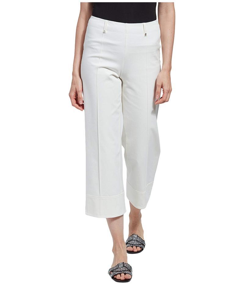 リジー レディース カジュアルパンツ ボトムス Giorgia Wide Leg Crop Pull-On Pants with Belt Loops in Stretch Twill Off-White