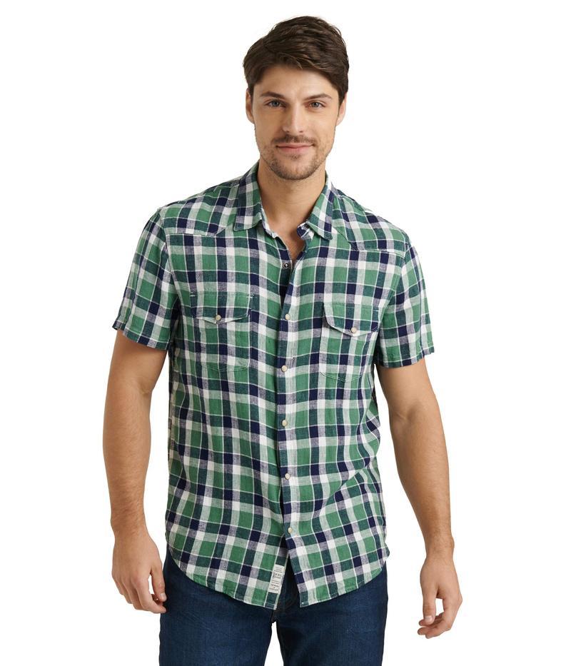 ラッキーブランド メンズ シャツ トップス Short Sleeve Santa Fe Western Shirt Green Plaid