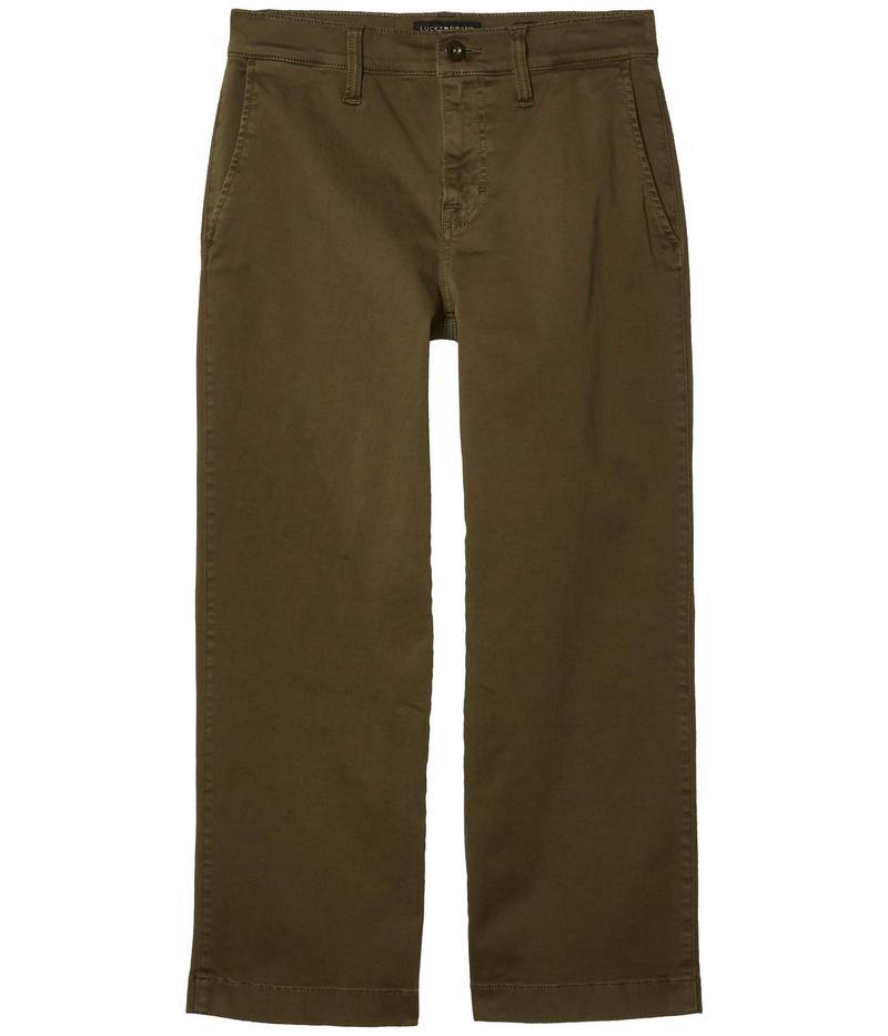 ラッキーブランド レディース カジュアルパンツ ボトムス Mid-Rise Crop Wide Leg Jeans in Olive Night Olive Night