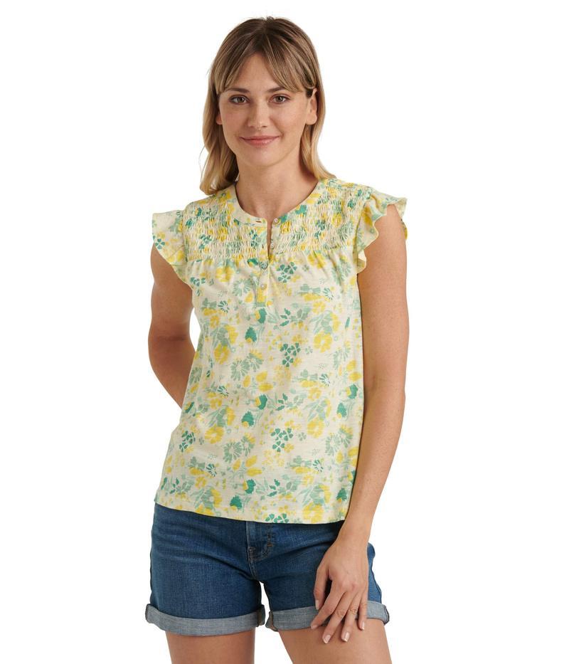 ラッキーブランド レディース シャツ トップス Sleeveless Button-Up Smocked Printed Top Yellow Multi