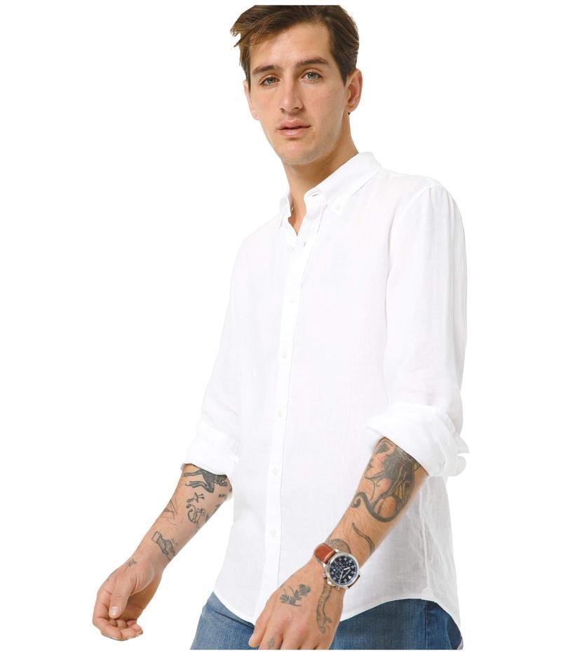 マイケルコース メンズ シャツ トップス Long Sleeve Button-Down Yarn-Dye Linen White