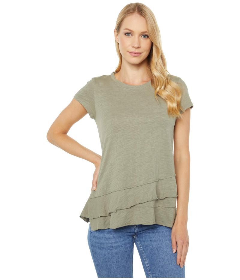 モッドドック レディース シャツ トップス Slub Jersey Asymmetrical Flounce Hem T-Shirt Cactus