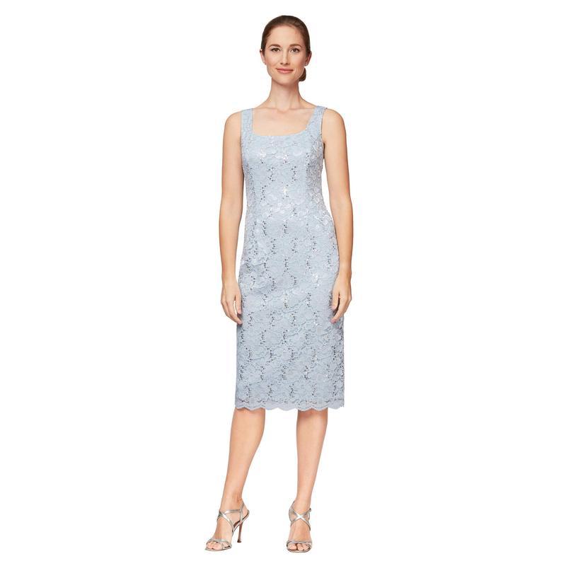 アレックスイブニングス レディース ワンピース トップス Short Sequin Lace Shift Dress with Open Jacket Hydrangea