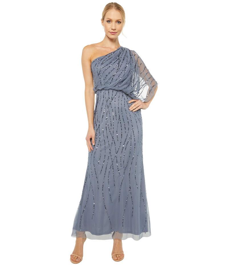 アドリアナ パペル レディース ワンピース トップス Petite One Shoulder Long Beaded Dress Dusty Blue